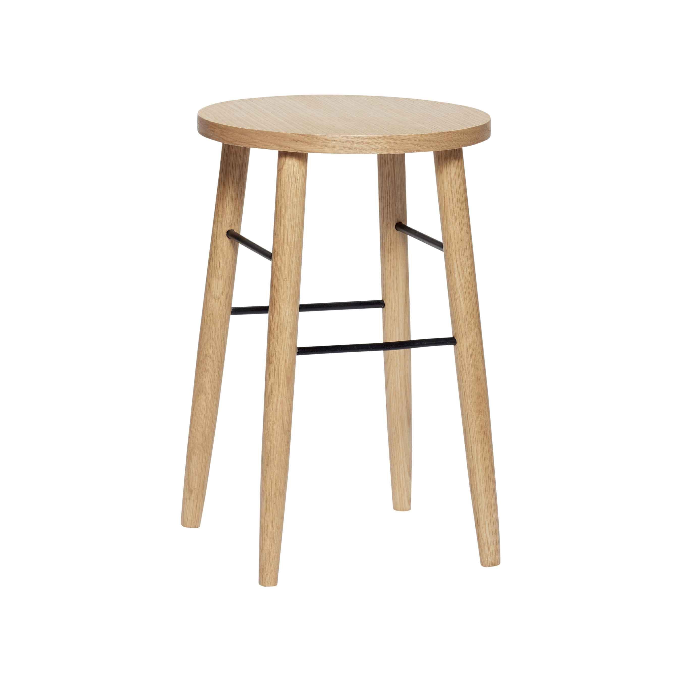 hübsch H?bsch barstol - egetræ/metal, natur/sort, rund (ø35) på boboonline.dk