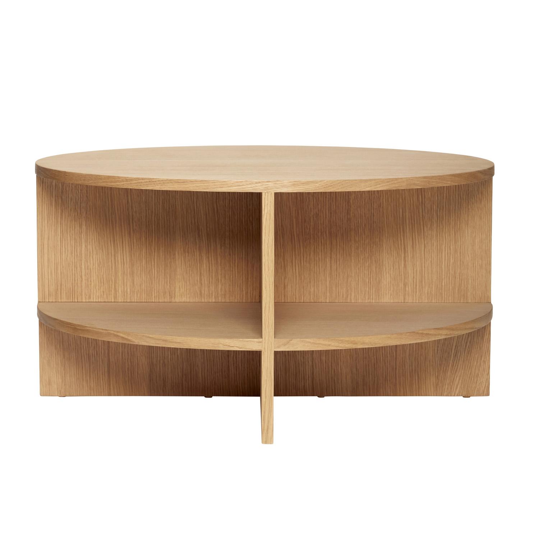 HÜBSCH sofabord - natur egetræsfinér, m. hylder, rund (Ø80)