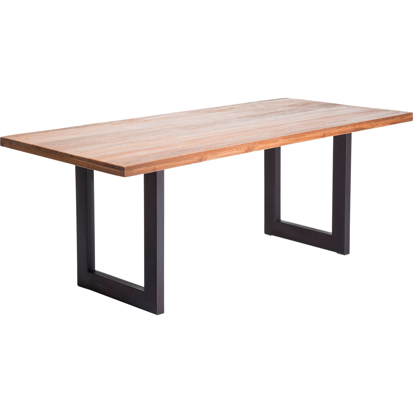 Kare design factory spisebord - natur træ m. stål stel, 200x90