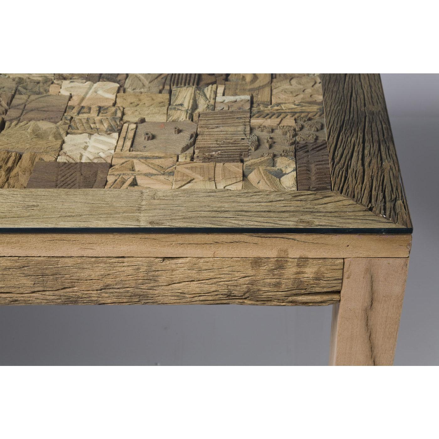 Memory spisebord i træ med mosaik og glasplade