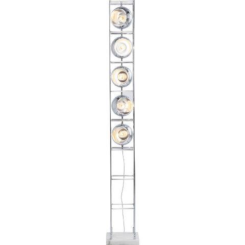 Kare design tower chrome gulvlampe - metal og marmor, m. 5 lamper