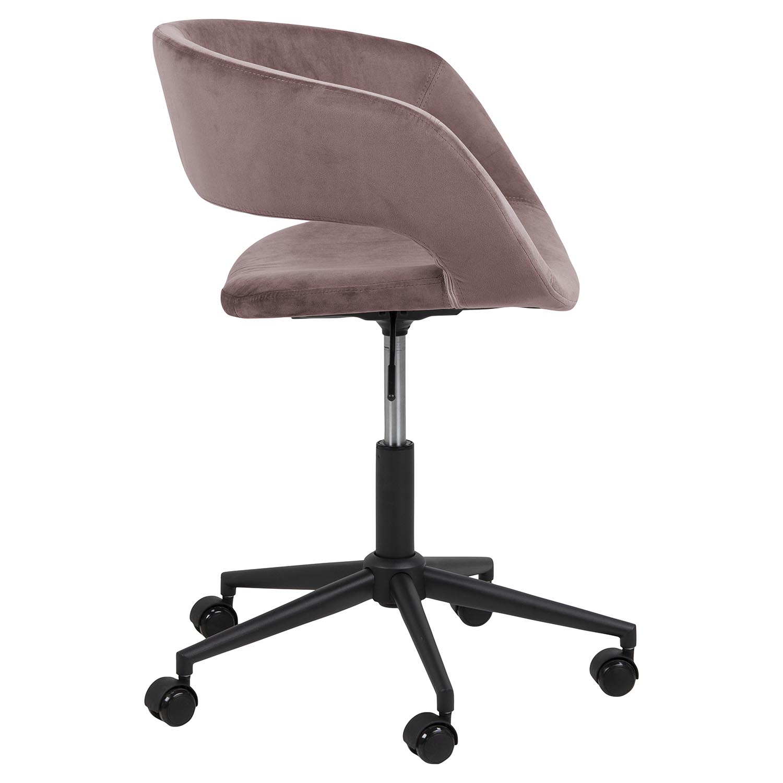 Billede af Act Nordic Grace skrivebordsstol, m. armlæn og hjul- rosa stof og sort metal
