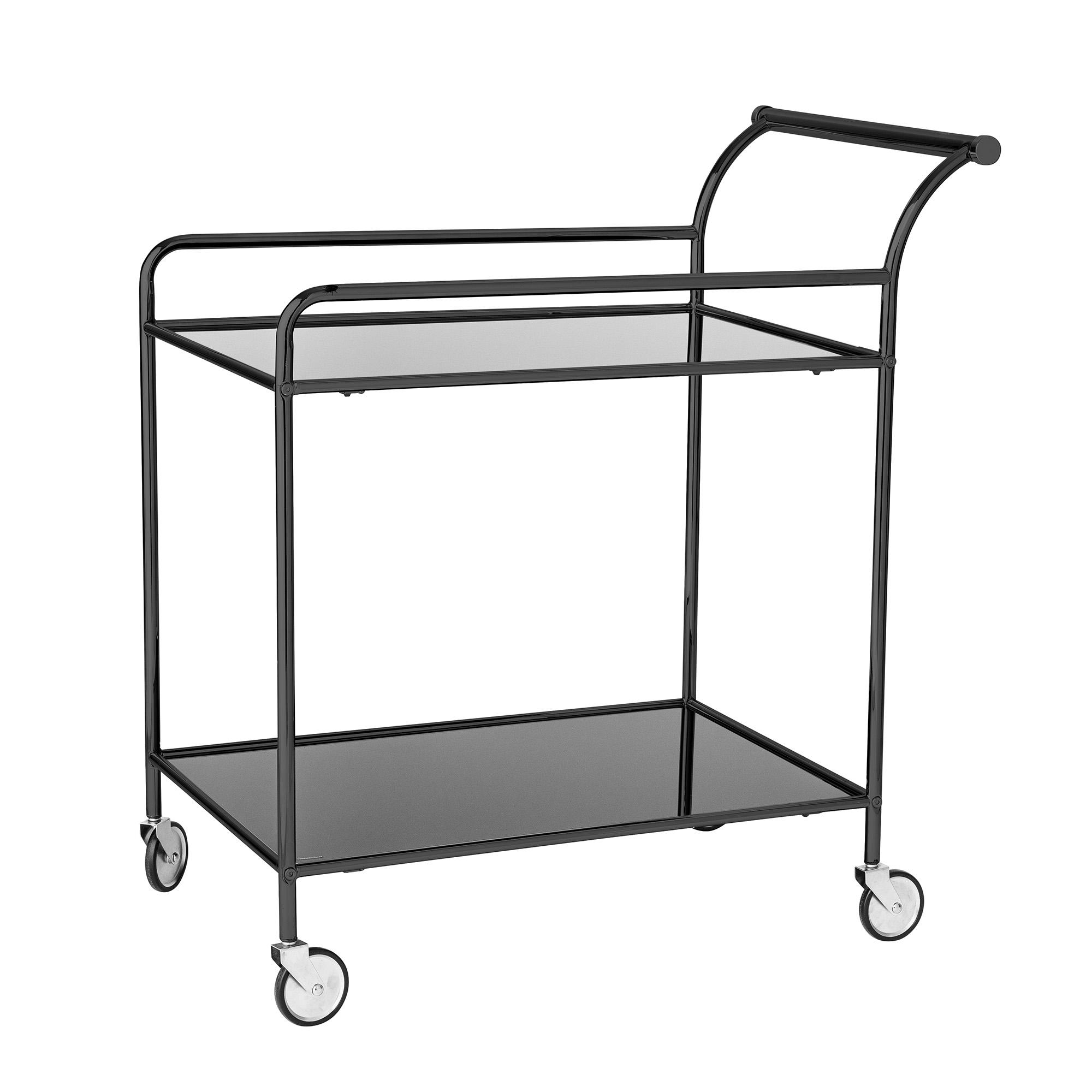 BLOOMINGVILLE Fine rullebord - sort glas/jern, m. 1 hylde og hjul