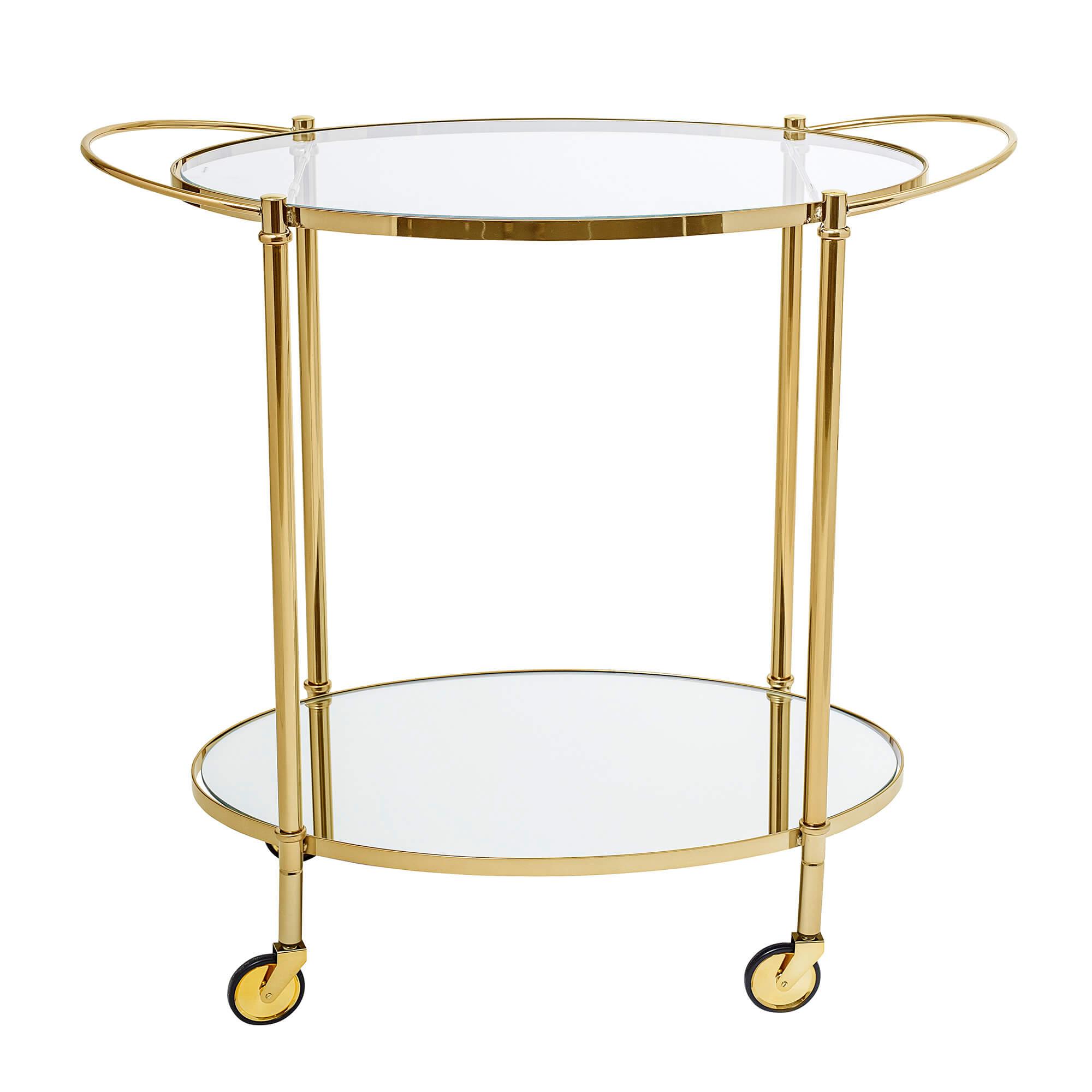 BLOOMINGVILLE Fine rullebord - klar/guld glas/jern, m. hylde i spejlglas og hjul