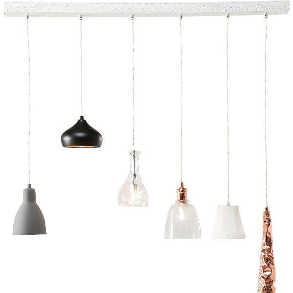 Kare design shades loftlampe - hvid stål og lamper i flere farver, m. 6 lamper fra kare design på boboonline.dk