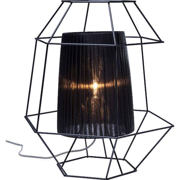 Kare design wire silver bordlampe - sort stål og plast