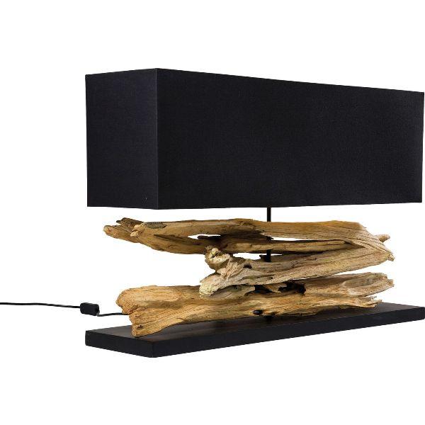 Kare design nature bordlampe - sort bomuld og drivtømmer