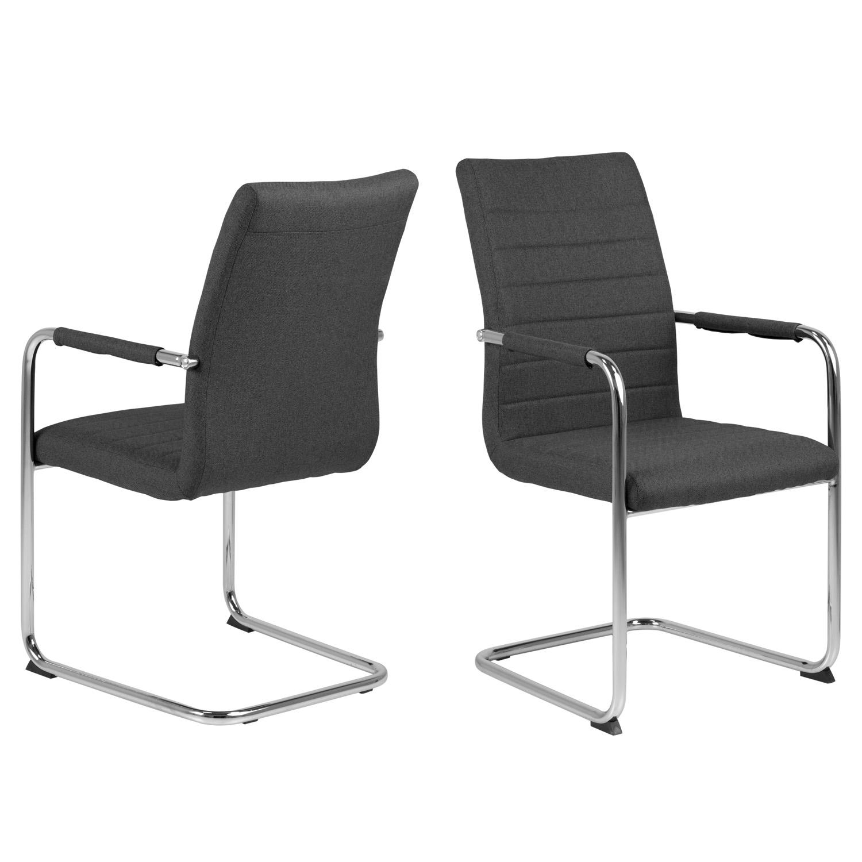 ACT NORDIC Gudrun spisebordsstol, m. armlæn - mørkegrå polyester og krom metal