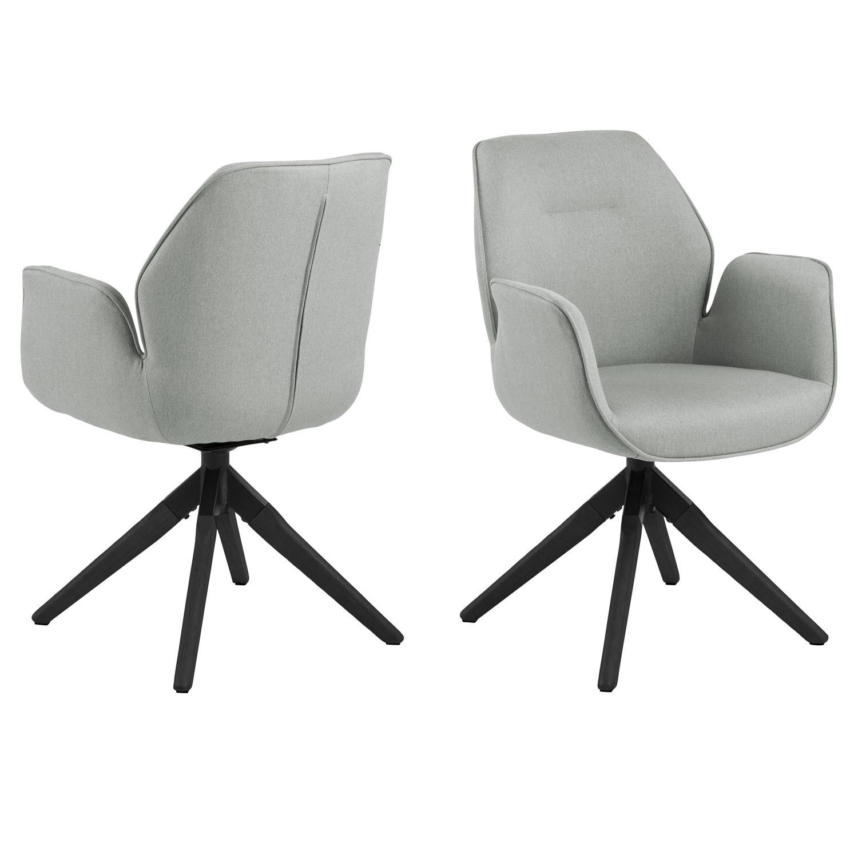 ACT NORDIC Aura spisebordsstol, m. armlæn og drejefunktion - lysegrå polyester og sort gummitræ