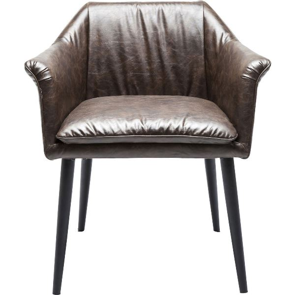 kare design – Kare design diner spisebordsstol - brunt læder pu, jern ben, m. armlæn på boboonline.dk