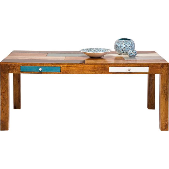 Kare design babalou spisebord - lakeret træ, m. skuffer