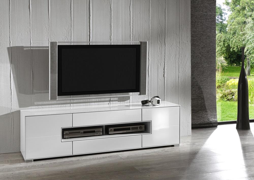 TV-bord - hvid højglans, m. 2 låger og 2 skuffer