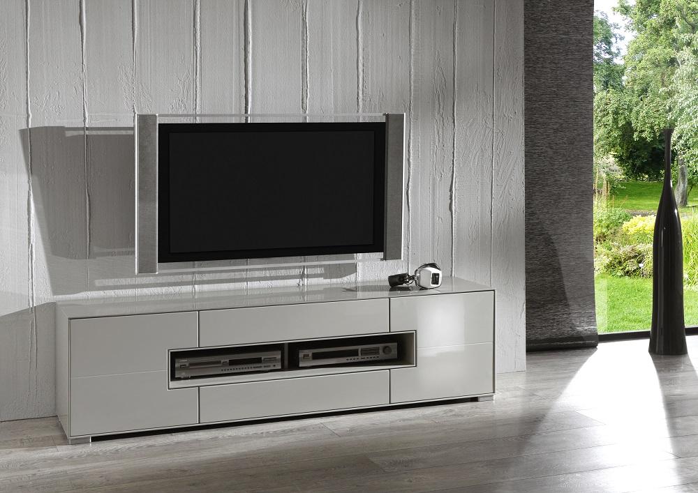 Enkel og flot TV-bord i højglans i farven taupe