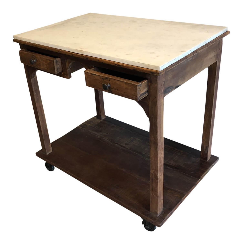 SJÄLSÖ NORDIC konsolbord - hvid/natur marmor/genbrugstræ, m. 2 skuffer og hjul