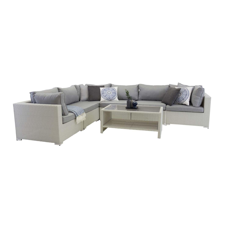 VENTURE DESIGN Amazon modul sofa havesæt 3+2+1 m. grå hynder - hvid rattan og aluminium
