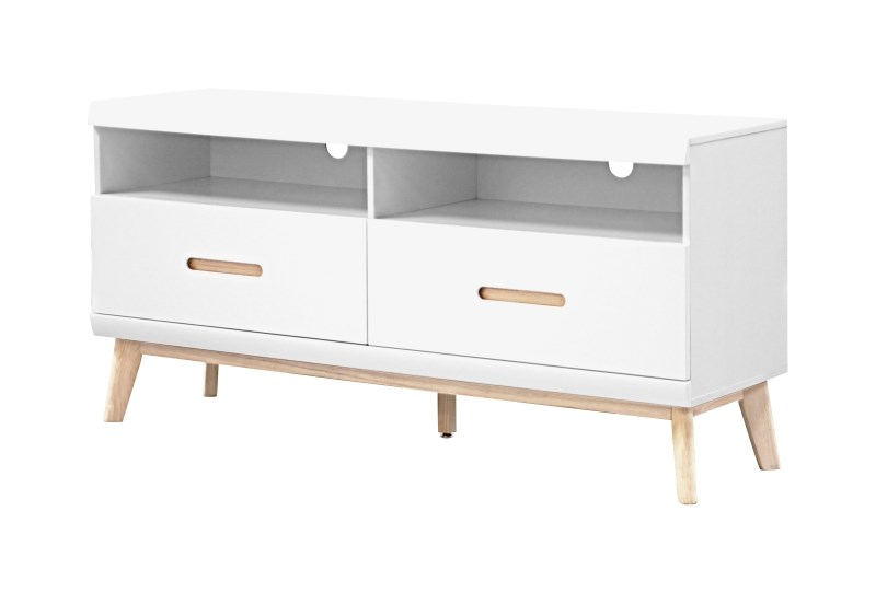 Image of   JAZZ hvid Tv-bord med 2 skuffer
