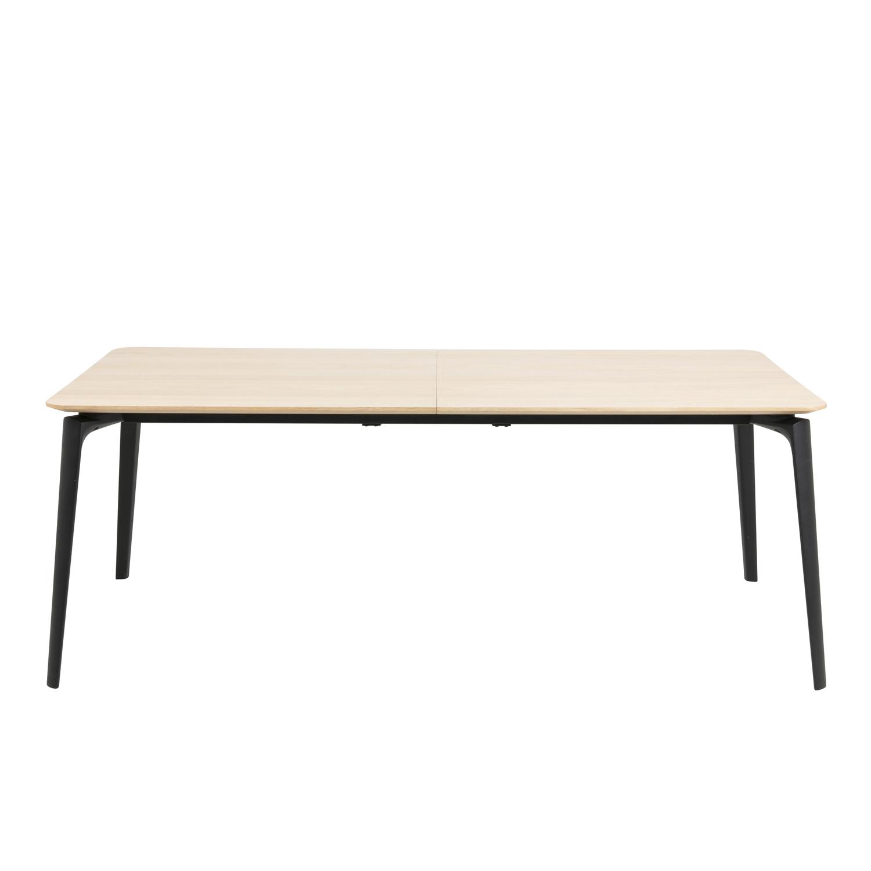 Connect spisebord m. udtræk - natur egetræsfiner og sort stål (200x100)