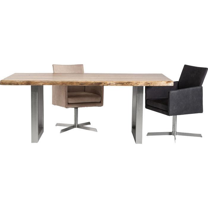 Kare design nature spisebord - massivt akacietræ, stål stel