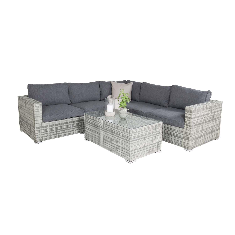 VENTURE DESIGN Amazon modul sofa havesæt 3+2+1 m. grå hynder - grå rattan og aluminium
