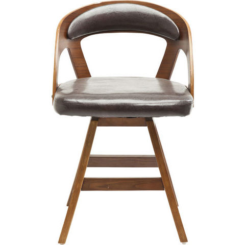 Image of   KARE DESIGN Manhattan stol - valnød laminat og sort læder PU/stof