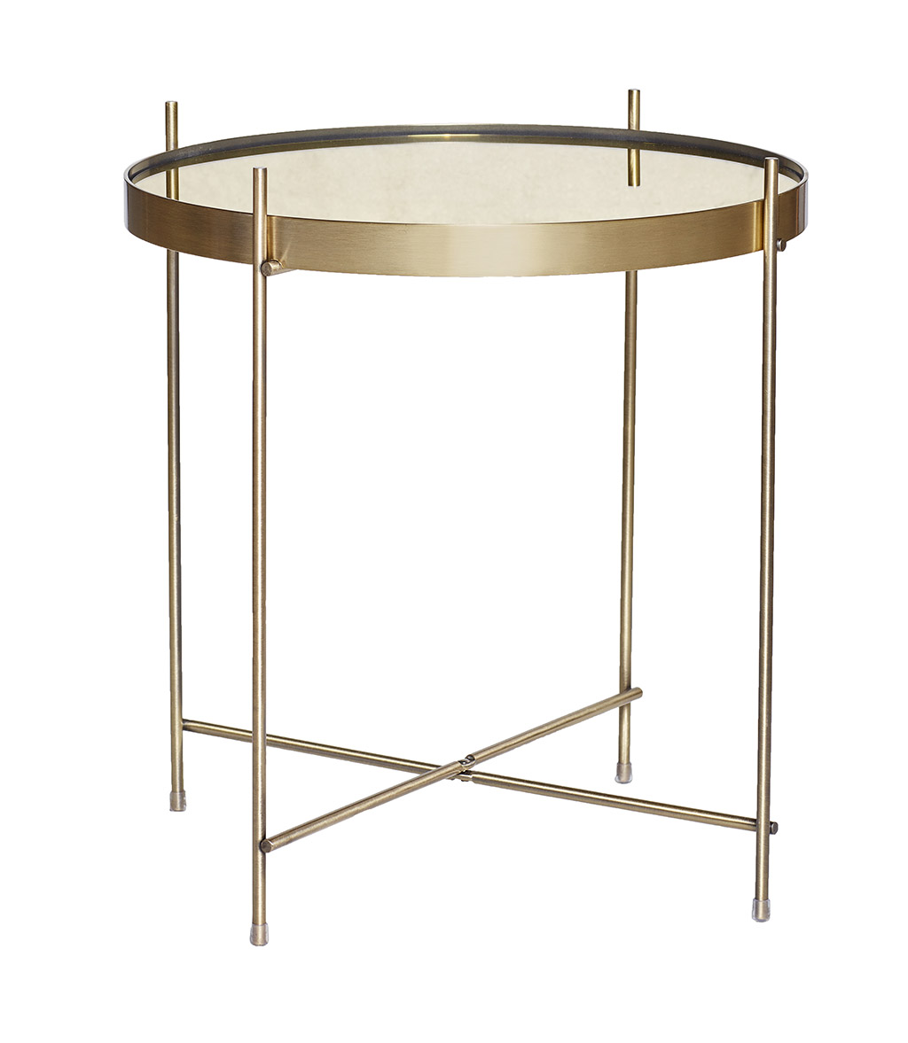 Image of   Hübsch Rundt bord i metal/spejl, guld
