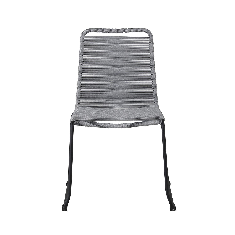VENTURE DESIGN Lindos havestol - grå polyester reb, sort aluminium og stål