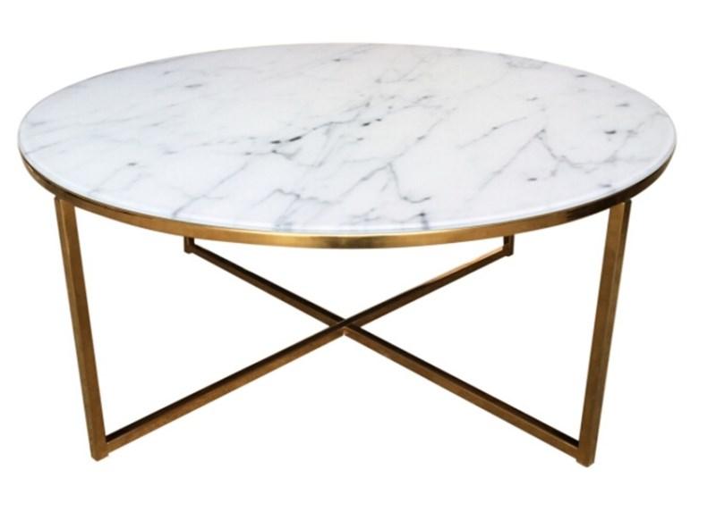 Image of   Alisma sofabord - glasplade, m. marmor print, rundt (Ø:80)