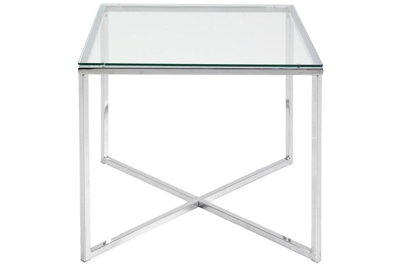 Image of   Cross hjørnebord - glas og stål, kvadratisk