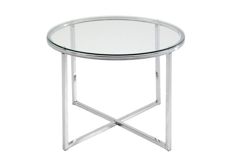Image of   Cross hjørnebord - glas og stål, rundt (Ø:55)