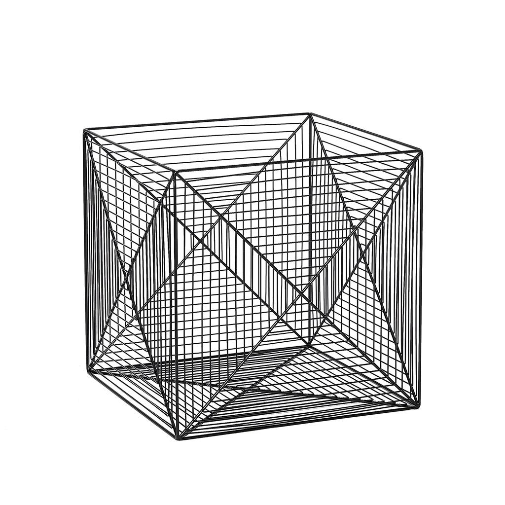 Billede af HÜBSCH Firkantet metal kurv, fil-de-fer, sort, 2 stk.
