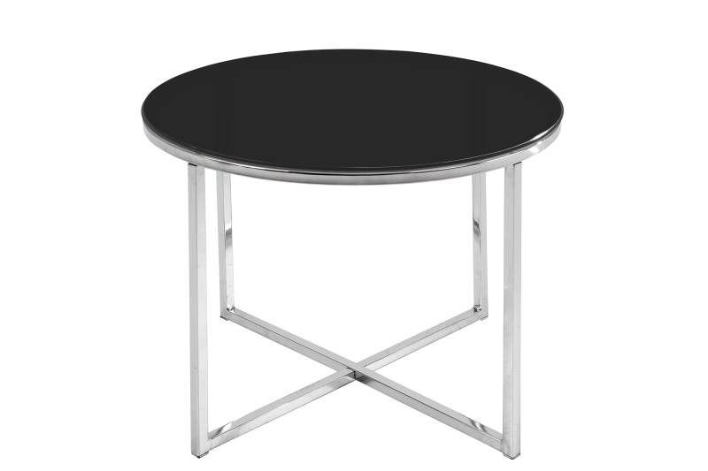 Image of   Cross hjørnebord - sort glas og stålstel, rundt (Ø:55)