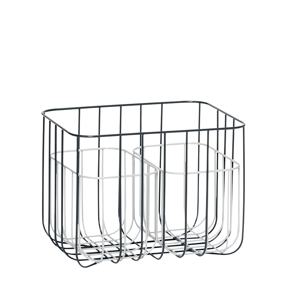 Billede af Hübsch Firkantet metal kurv, grå/hvid, 3 stk.