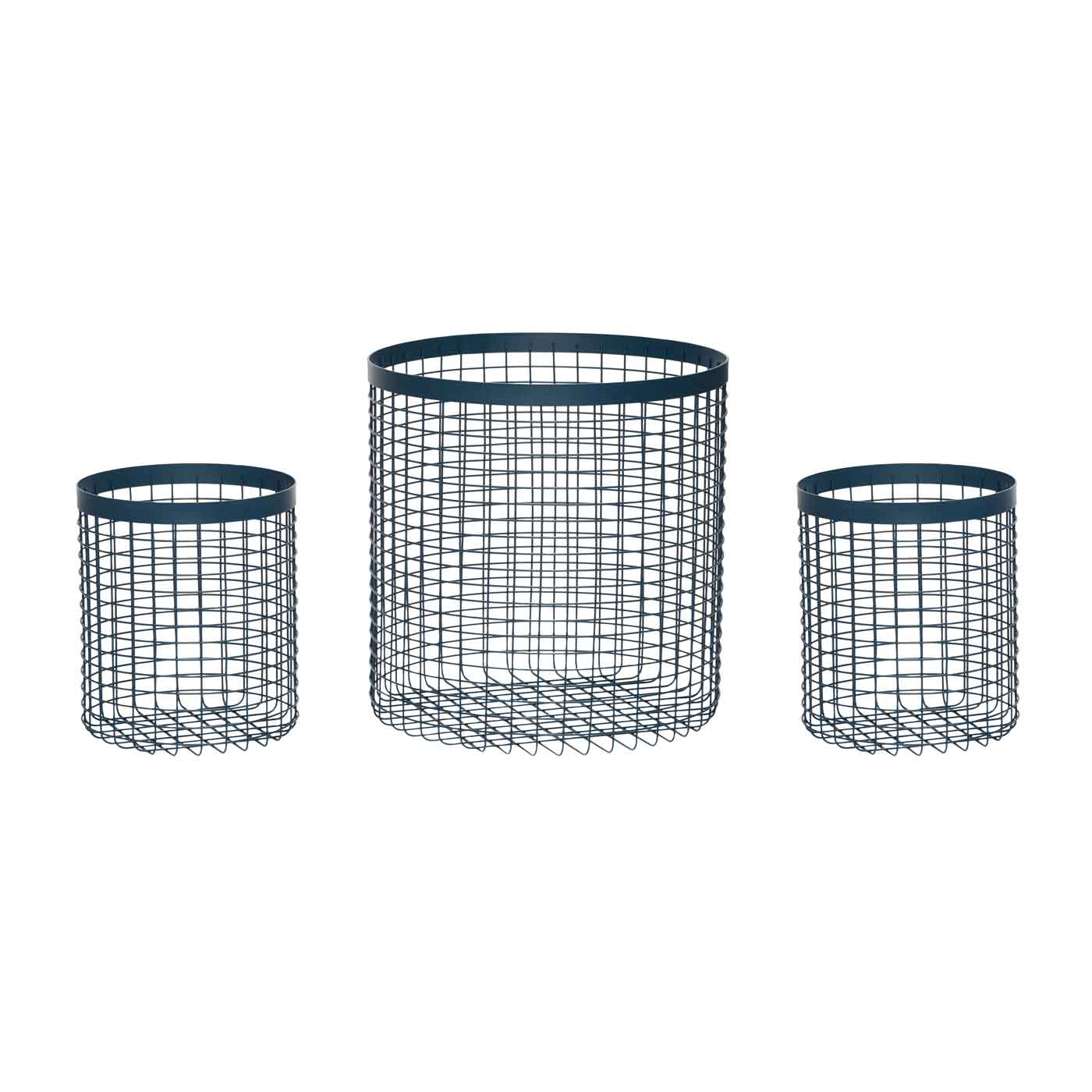 Billede af HÜBSCH Kurv - Blå metal, 3 stk, runde, , rund, metal, blå, s/3