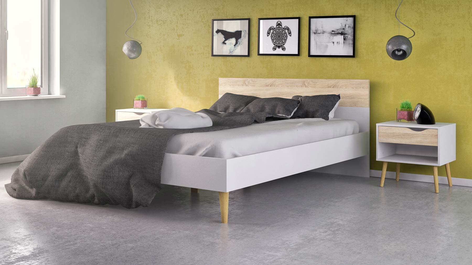 køb billig Delta seng 140 x 200 hvid og eg struktur