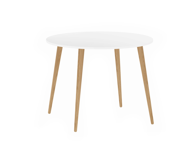 Boboonline Delta Spisebord - Hvid/Egestruktur, Rundt (Ø:100 Cm) Hvide Spiseborde