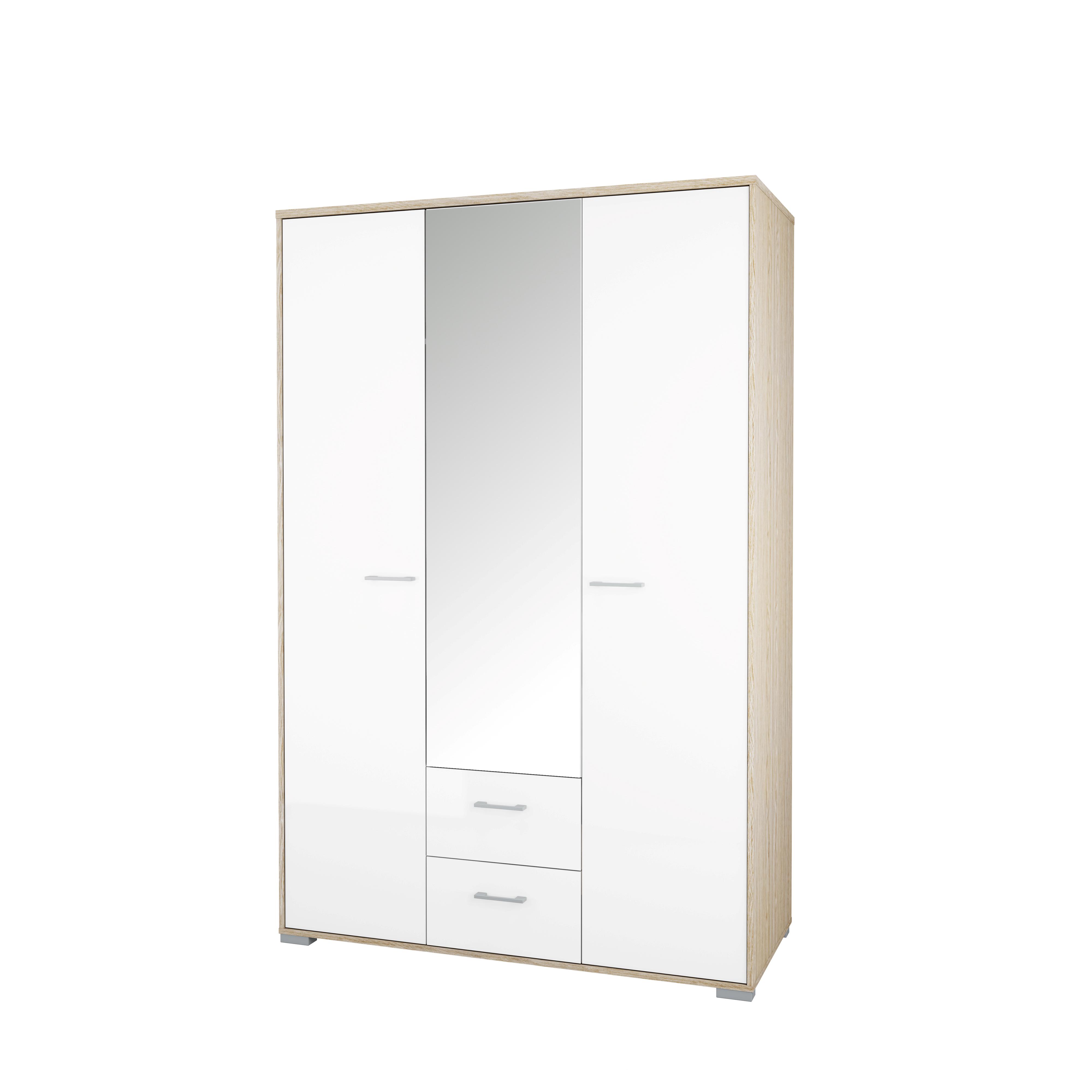 Image of   Homeline garderobeskab - hvid/natur træ, m. spejl, m. 3 låger og 2 skuffer