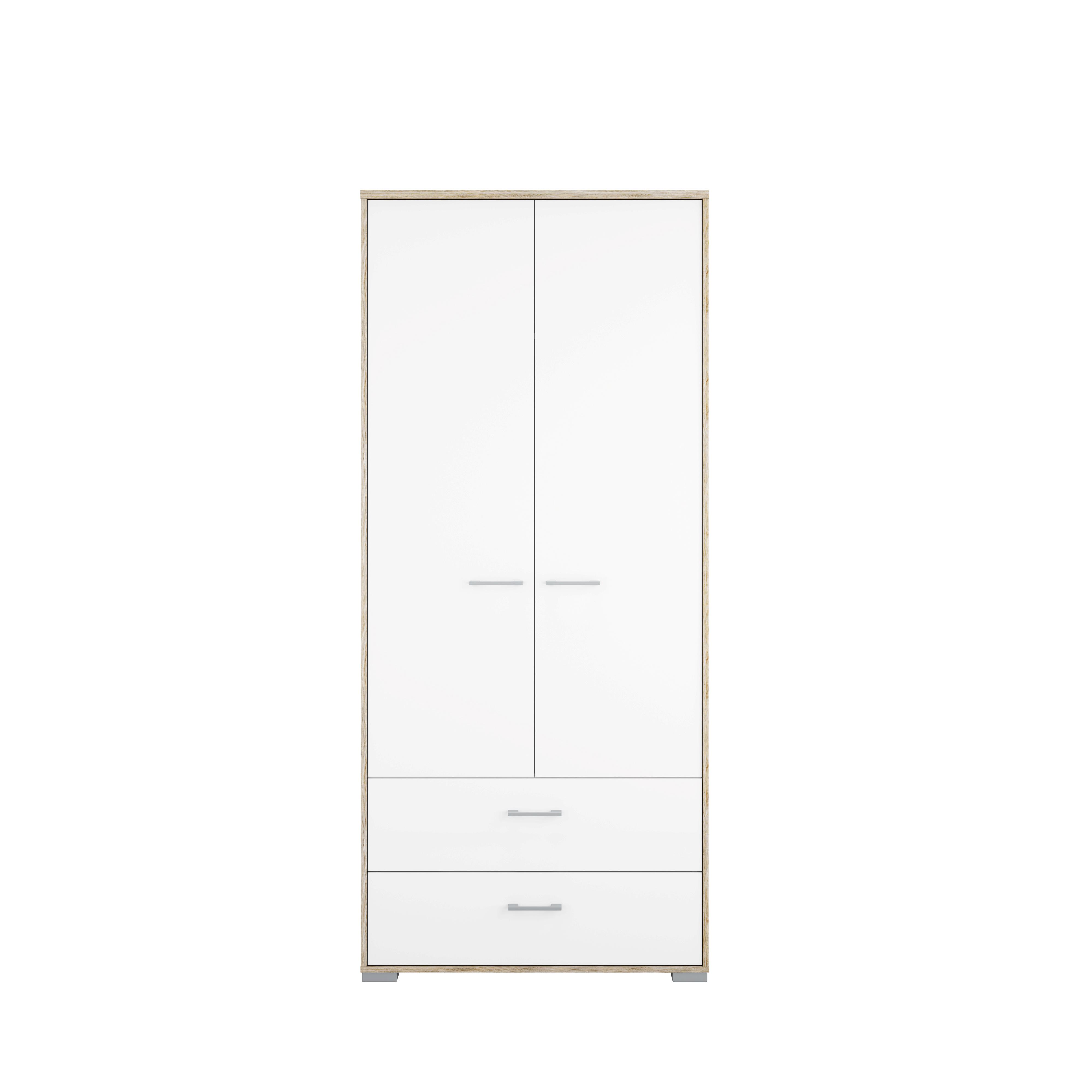 Garderobeskab 2 lger 2 skuffer i hvid hjglans for Homeline dekoration