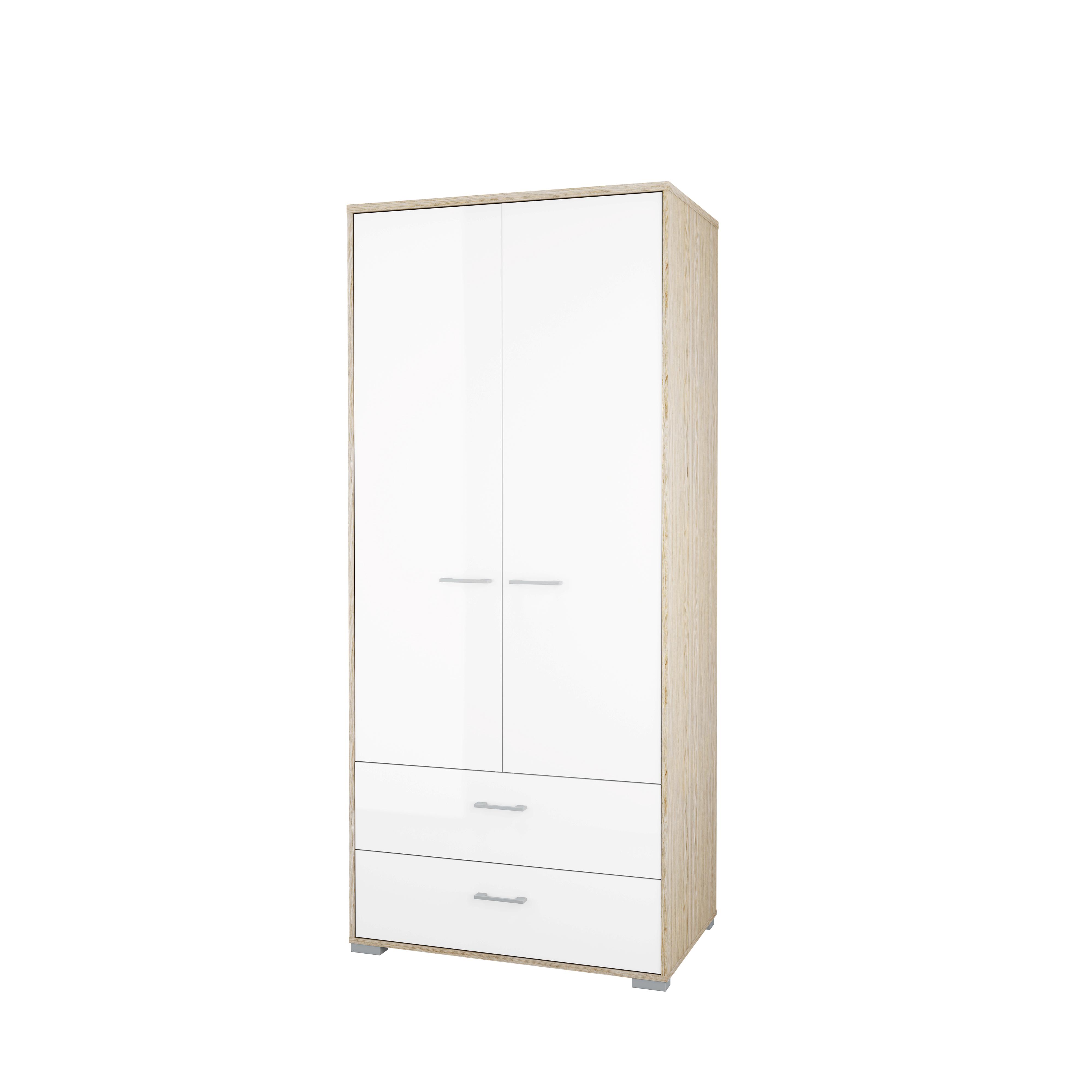 Image of   Homeline garderobeskab - hvid/natur træ, m. 2 låger og 2 skuffer