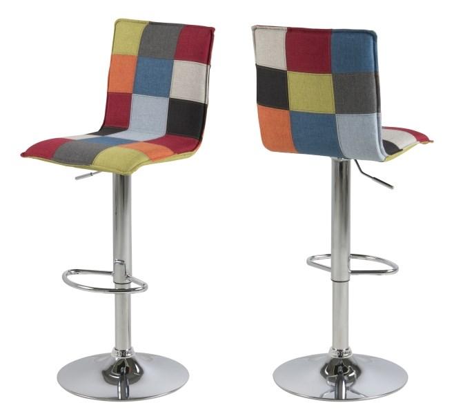 Anela barstol - multifarvet stof, stål stel, m. fodstøtte og m. trompet