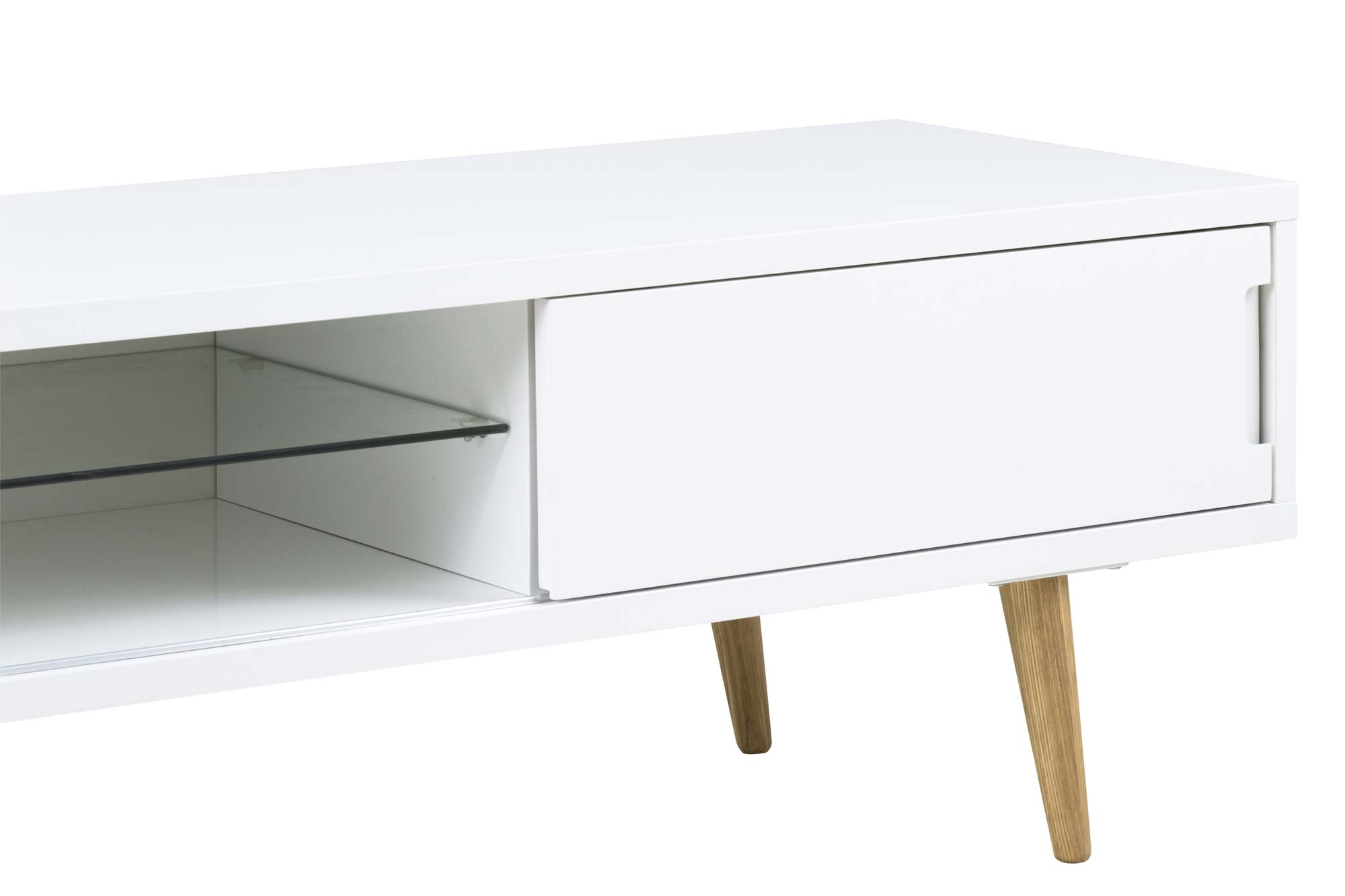 Elise TV-bord - hvid træ m. egetræsben, 2 låger