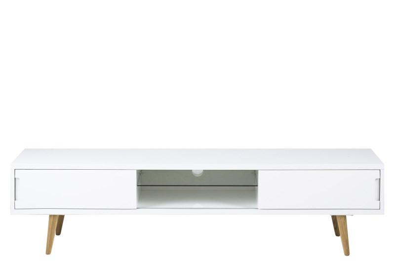 Image of   Elise TV-bord i hvid med ben i eg
