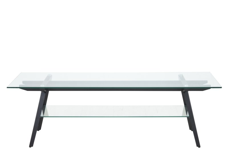 Image of   Monti TV-bord - glasplade m. sorte metalben, m. hylde