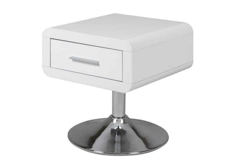 Billede af Comfort natbord med trompetfod, hvid
