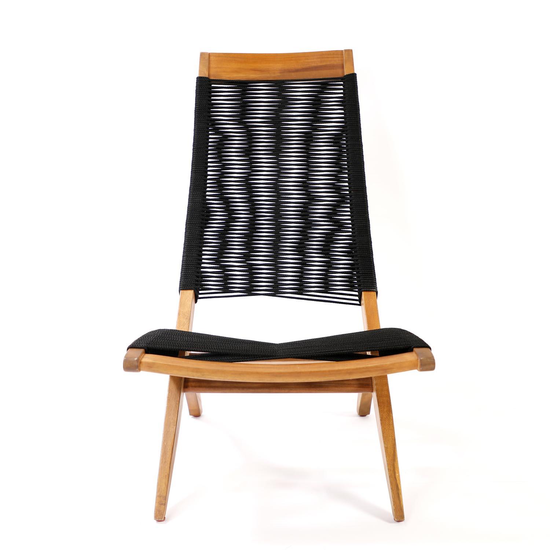 Venture Design Venture Design Little John Udendørs Loungestol - Natur Akacietræ Og Sort Reb Havemøbler