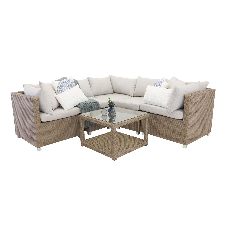 VENTURE DESIGN Vamos modul sofa havesæt 3+2+1 m. hynder - sand, natur rattan og aluminium