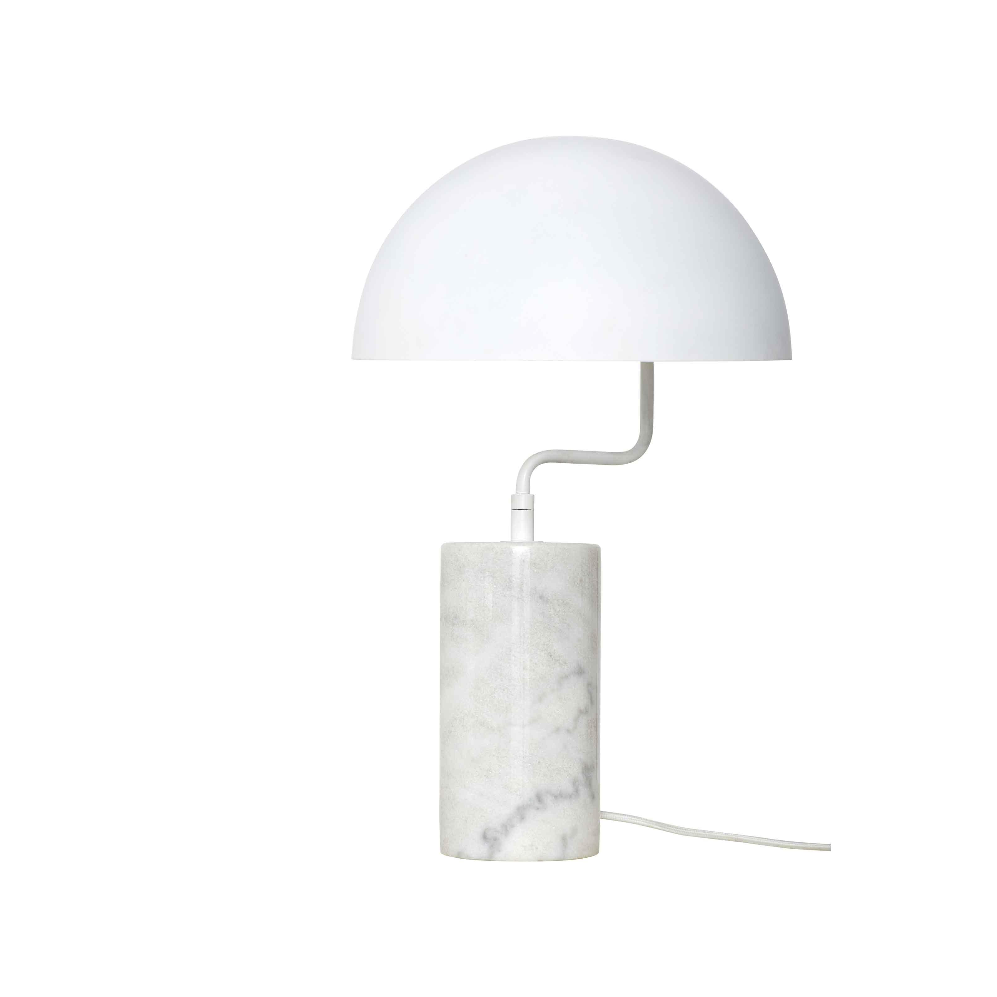 HÜBSCH bordlampe - hvidt metal og marmor