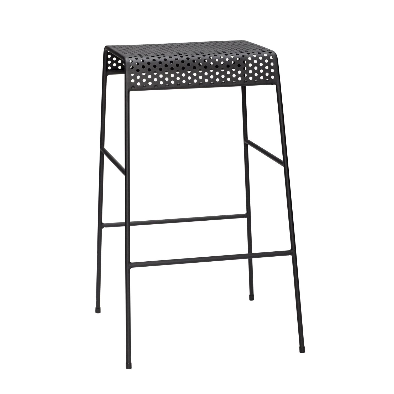 H?bsch barstol - sort metal, m. fodstøtte fra hübsch fra boboonline.dk