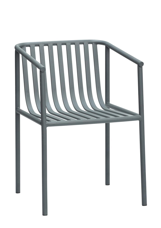 HÜBSCH spisebordsstol - grå metal, m. armlæn thumbnail