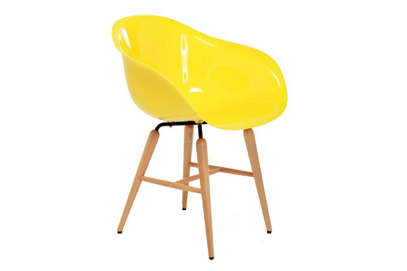 Kare design forum spisestol - gul plast m. bøgetræsben fra kare design på boboonline.dk