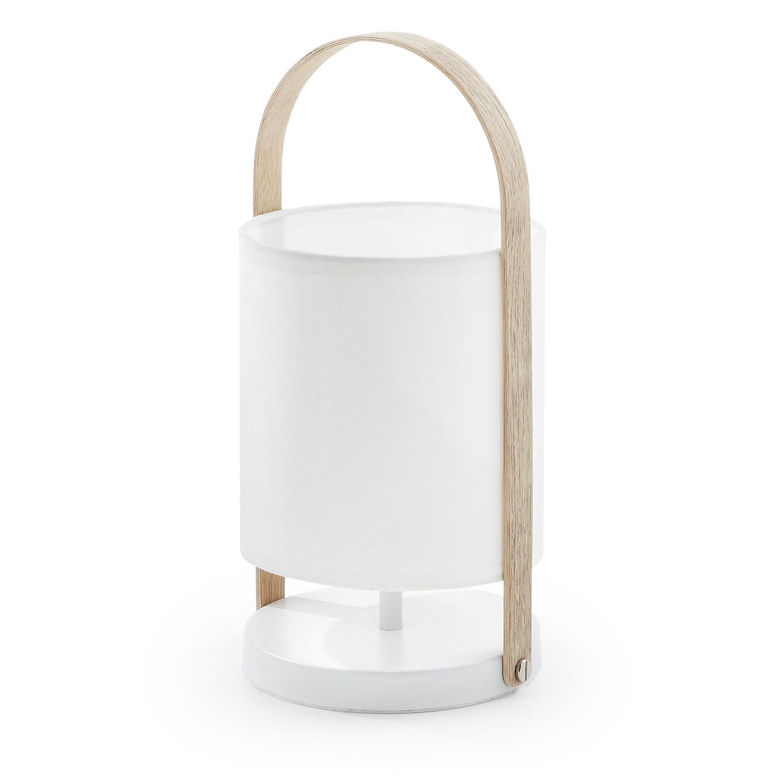 laforma – Laforma rund zayla bordlampe - hvid bomuld og stål, natur bøg på boboonline.dk